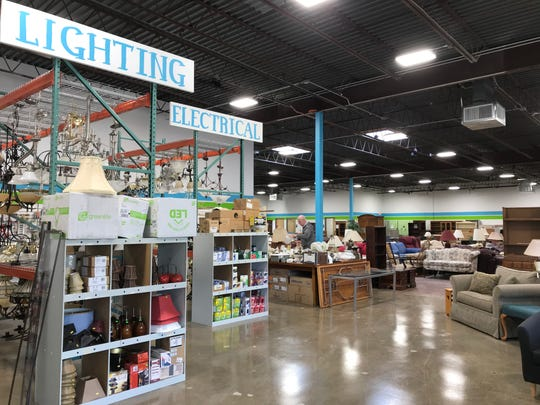 The addition to the Habitat for Humanity ReStore stretches beyond what was previously the back wall of the previous space. The 18,000-square-foot store now also fills space occupied by five smaller businesses inside what was an enclosed mall section of the Westbrook Shopping Center.