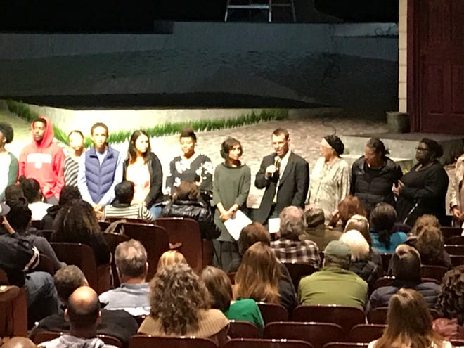 Shorewood School District Superintendent Bryan Davis speaks to a crowd gathered at Shorewood High School's auditorium for a conversation on race after controversy over reversing a decision to initially cancel To Kill A Mockingbird. It will be performed Oct. 17.