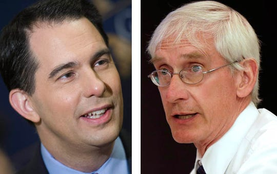 The race between Gov. Scott Walker (left) and Tony Evers was too close to call as votes were still being counted early Wednesday.