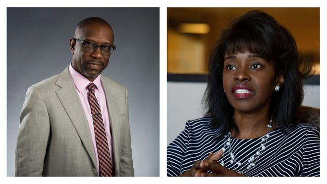 Kirk Hatcher, left, and Tijuanna Adetunji, candidates for Alabama House District 78