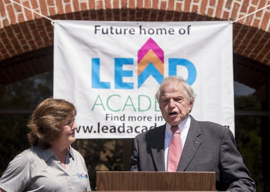LEAD Academy chairperson Charlotte Meadows and Rod Frazer announce the location of LEAD Academy's campus on East Blvd. in Montgomery, Ala. on Thursday April 12, 2018.