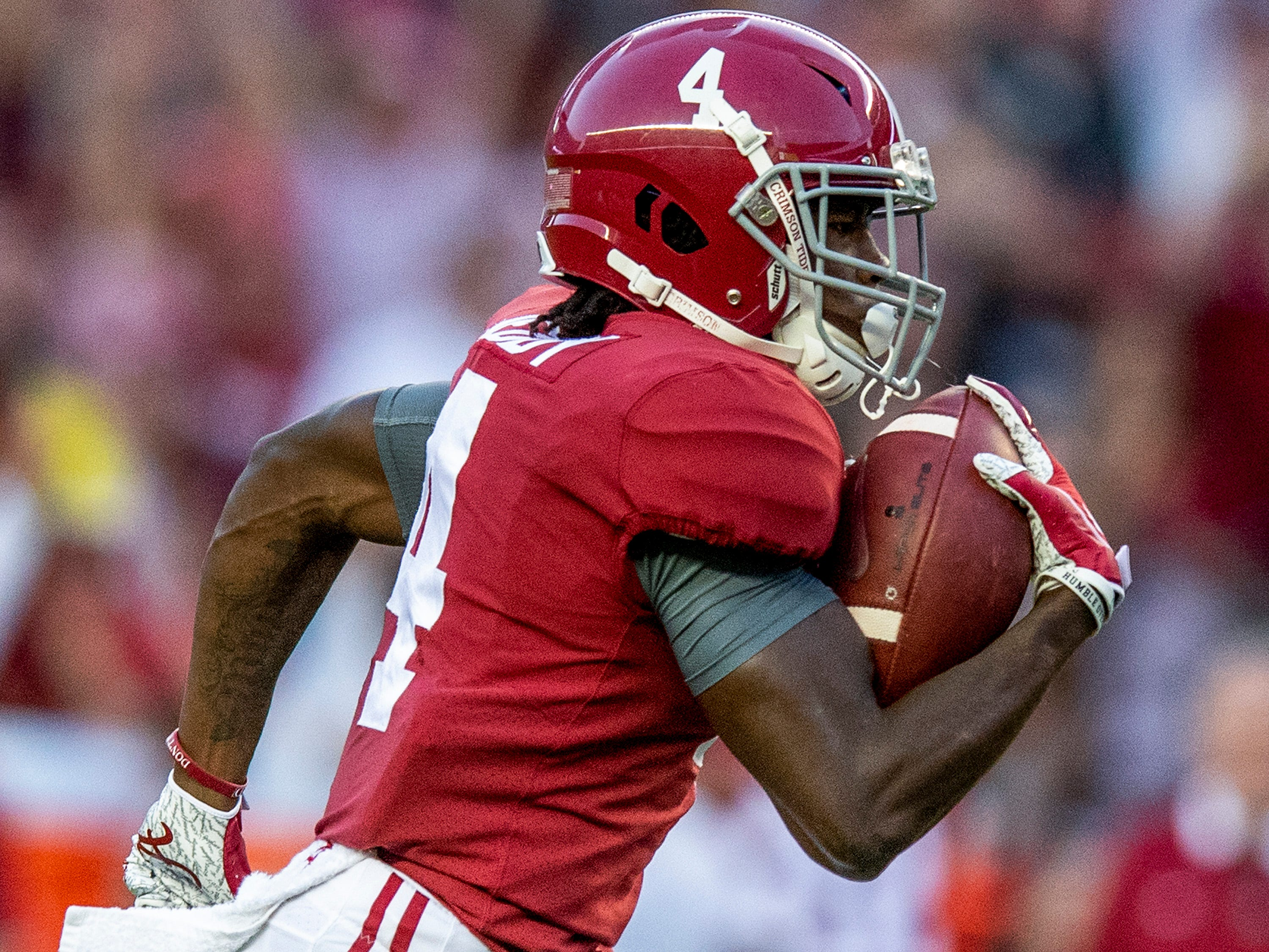 Alabama wide receiver Jerry Jeudy (4) scores an early touchdown against Missouri in first half action at Bryant Denny Stadium in Tuscaloosa, Ala., on Saturday October 13, 2018.
