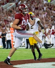 Alabama tight end Hale Hentges (84) crosses the goal line against Missouri on a play that was called back for a penalty in first half action at Bryant Denny Stadium in Tuscaloosa, Ala., on Saturday October 13, 2018.