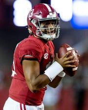Alabama quarterback Tua Tagovailoa (13) looks to throw the ball against Missouri in first half action at Bryant Denny Stadium in Tuscaloosa, Ala., on Saturday October 13, 2018.
