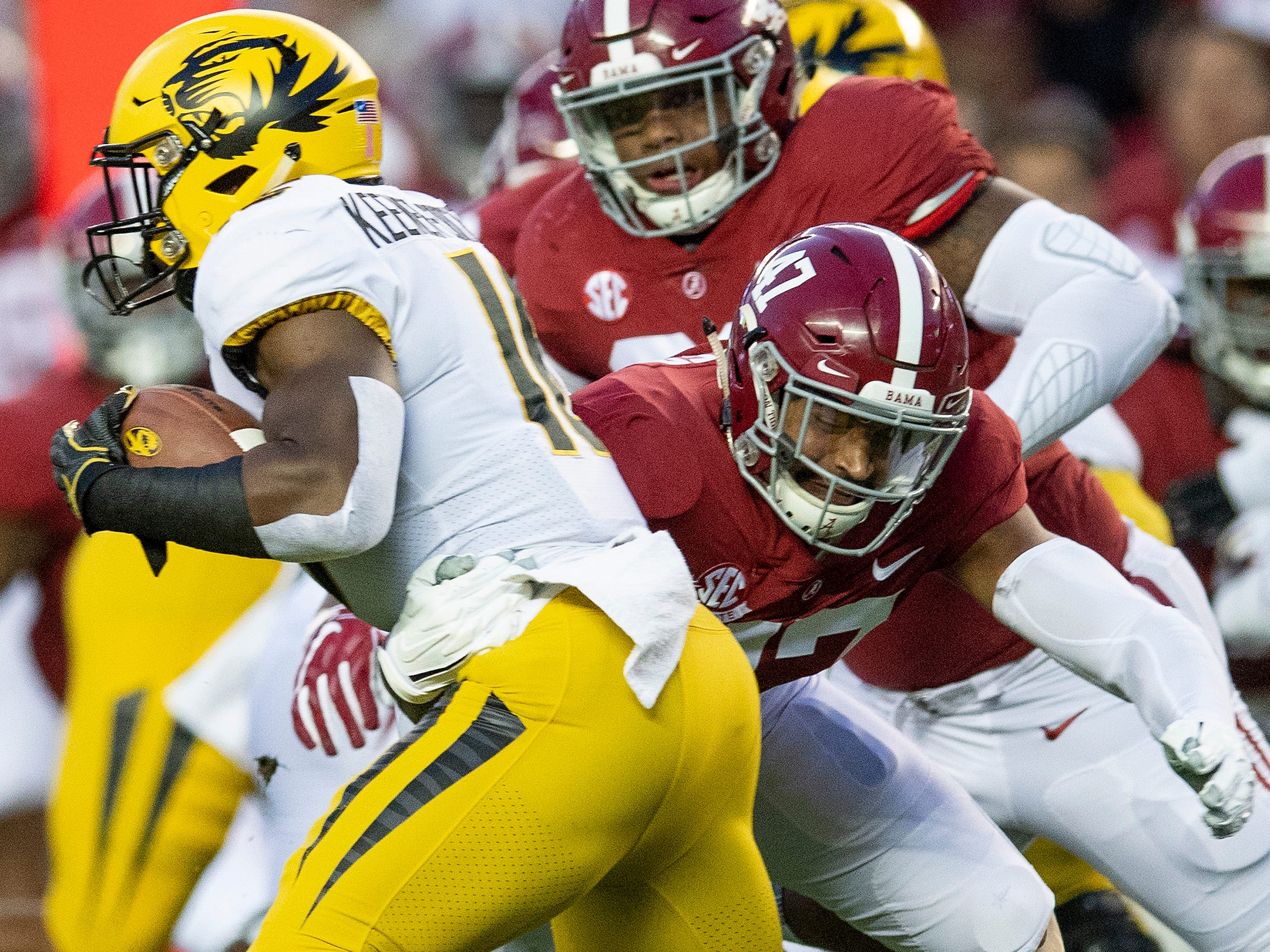 Alabama linebacker Christian Miller (47) stops Missouri running back Damarea Crockett (16) in first half action at Bryant Denny Stadium in Tuscaloosa, Ala., on Saturday October 13, 2018.