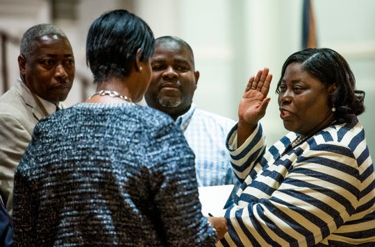 Audrey Graham is sworn in as Montgomery's newest city council member at city hall on Tuesday night October 16, 2018.