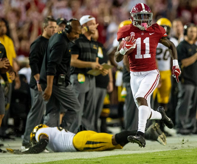 Alabama wide receiver Henry Ruggs, III, (11) breaks into the open field on a play called back for a penalty against Missouri in first half action at Bryant Denny Stadium in Tuscaloosa, Ala., on Saturday October 13, 2018.