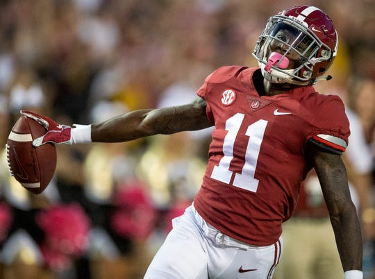 Alabama wide receiver Henry Ruggs, III, (11) reacts after a long play is called back for a penalty against Missouri in first half action at Bryant Denny Stadium in Tuscaloosa, Ala., on Saturday October 13, 2018.
