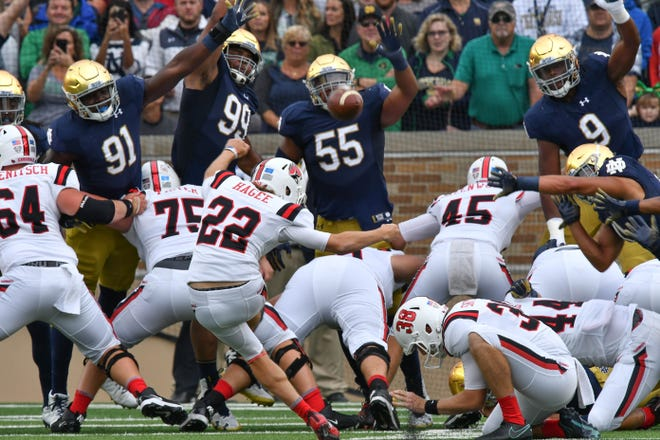 Ball State Cardinals kicker Morgan Hagee kicks a field goal in the first quarter against the Notre Dame Fighting Irish at Notre Dame Stadium on Sept. 8, 2018.