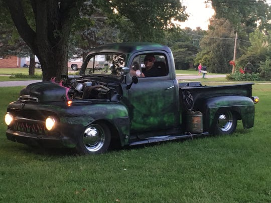 Angie Smith's 1951 Ford F1 Rat Rod truck, which she uses to cruise down Madison Street at the monthly event.