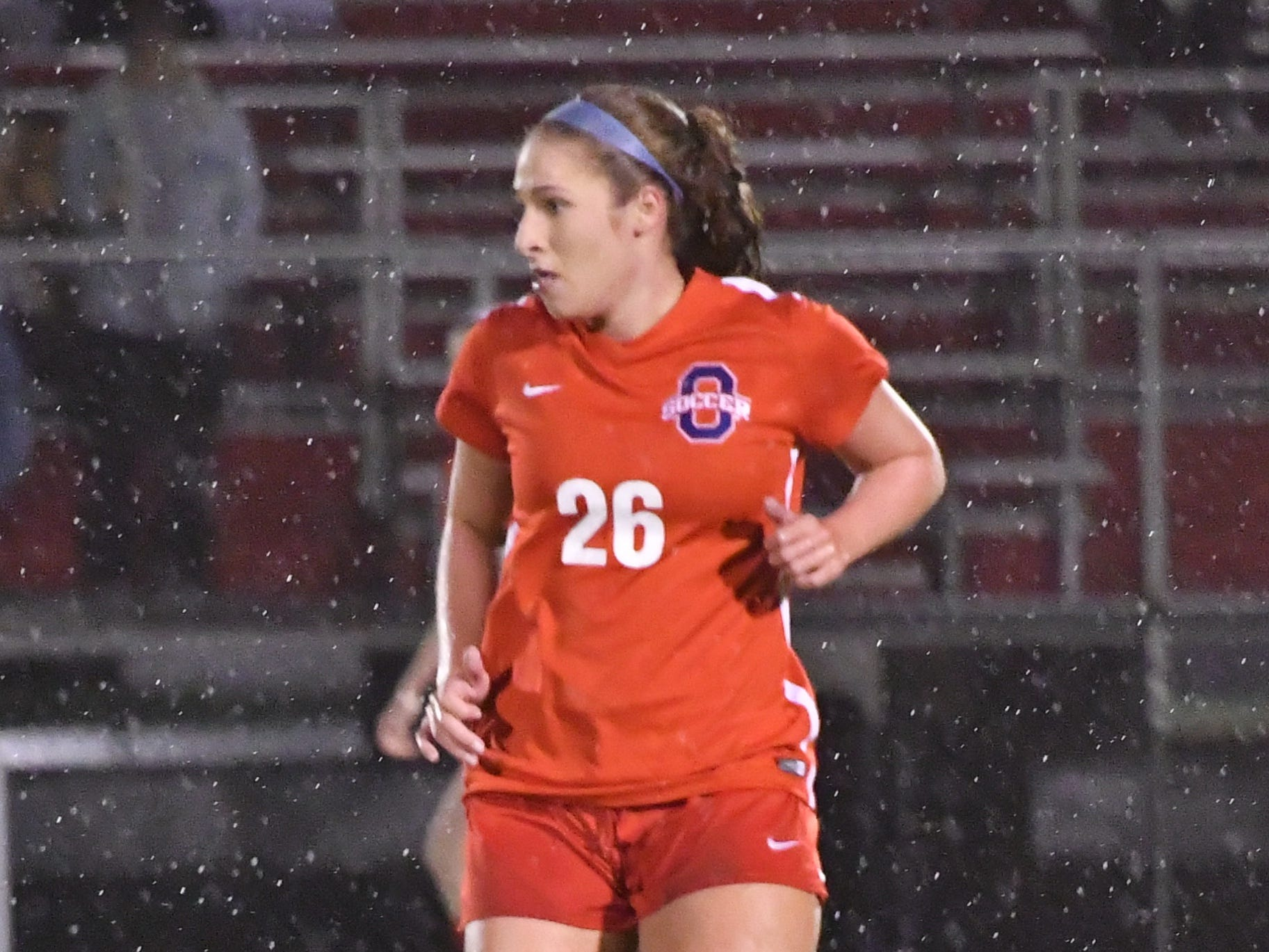 Oakland's Monica Mullaney surveys the field during Tuesday's 4-AAA semifinals.