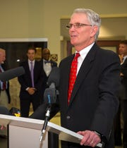 Murfreesboro City Manager Craig Tindall speaks at City Hall during his swearing in ceremony.