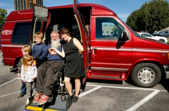 After riding around town on a motorized wheelchair, the Caldwell family is gifted a van from Greenhouse Ministries