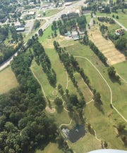Aerial photo of a portion of Henslee Park.
