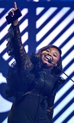 Jekalyn Carr wins Traditional Gospel Album of the Year during the 49th Annual GMA Dove Awards at Allen Arena