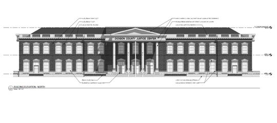 The design for the new Dickson County Justice Center to be built just south of the Charlotte Square.