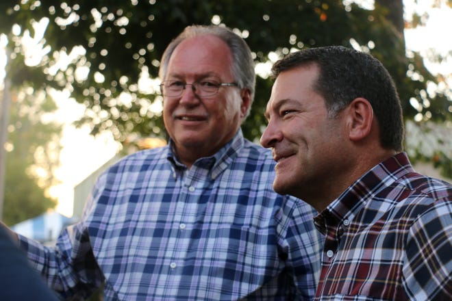 Mark Green visits the Middle Tennessee District Fair alongside Lawrence County Executive T.R. Williams on Sept. 28.