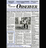 The front page of The Fairview Observer covering the August 1995 week-long water shortage.