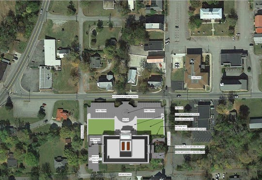 Aerial view of future Dickson County Justice Center site. The Charlotte Square and Old Courthouse are at top right, Highway 48 is at left, and the justice center is at bottom.