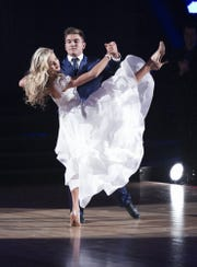 Lindsay Arnold, left, and Alek Skarlatos are one of four remaining couples on ABC's 'Dancing with the Stars.'