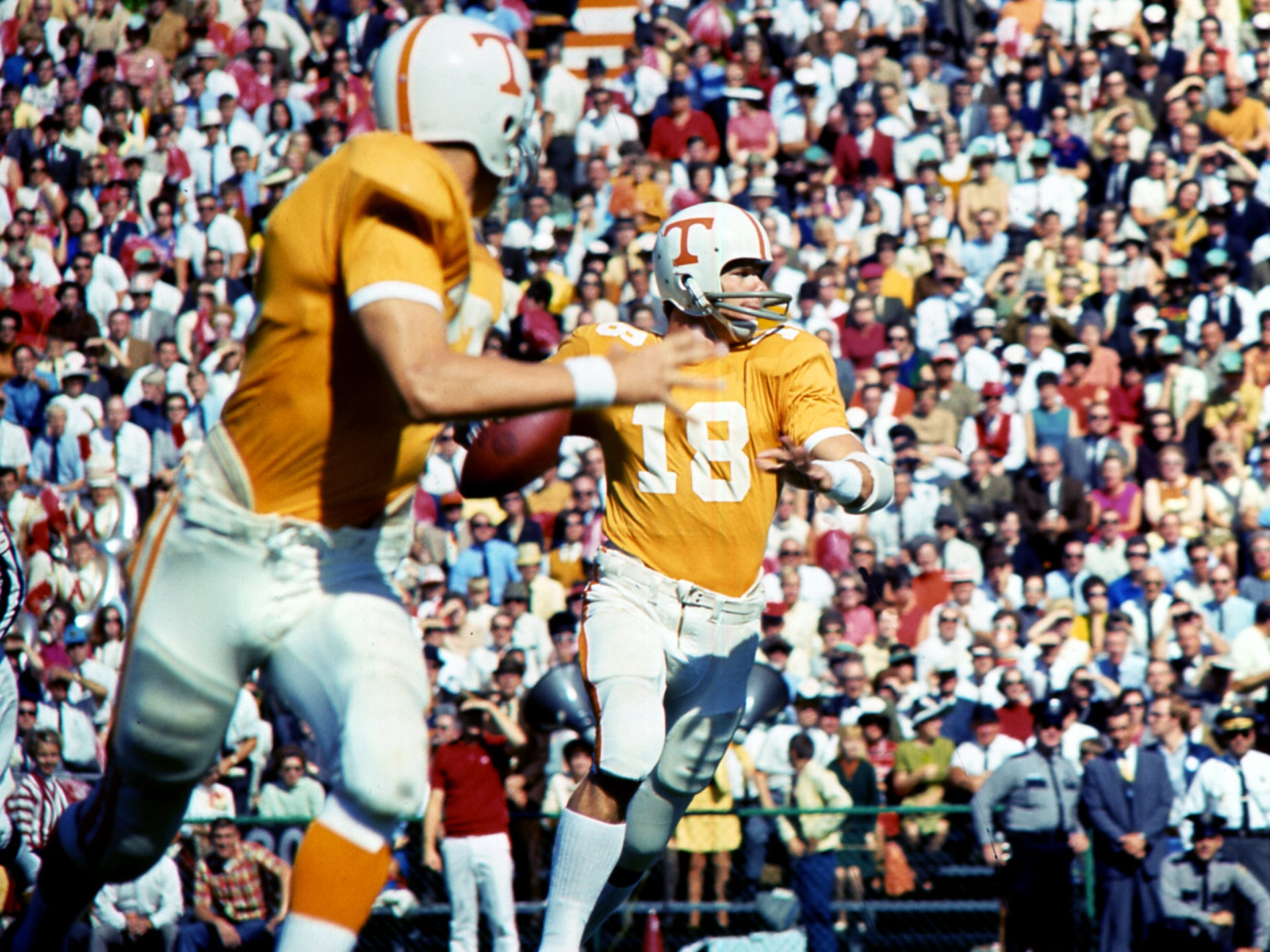 Tennessee senior quarterback Bubba Wyche (18) looks for an open receiver against Alabama at Neyland Stadium Oct. 19, 1968.