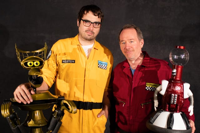From left: Crow T. Robot, Jonah Ray, Joel Hodgson and Tom Servo are the stars of 'Mystery Science Theater 3000'