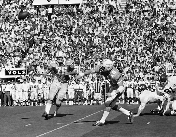 Tennessee senior quarterback Bubba Wyche (18) fires a pass down field against Alabama at Neyland Stadium Oct. 19, 1968.