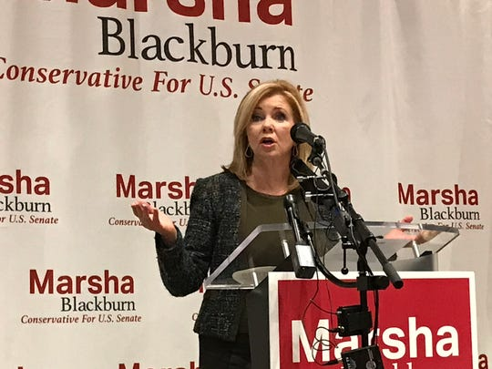U.S. Rep. Marsha Blackburn speaks to supporters on Oct. 17, 2018, the first day of early voting in Tennessee's U.S. Senate race.