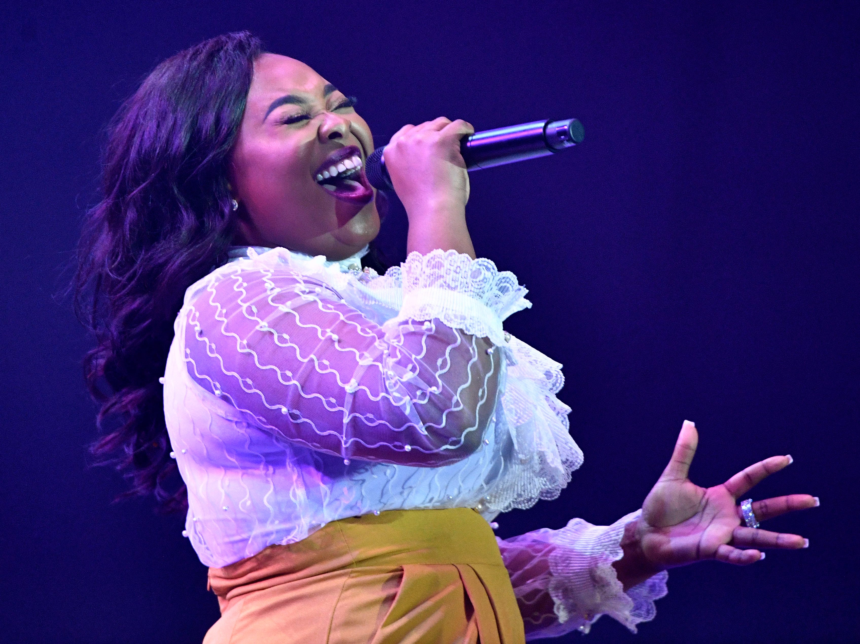 Jekalyn Carr performs during the 49th Annual GMA Dove Awards at Allen Arena Tuesday Oct. 16, 2018, in Nashville, Tenn.