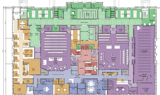 Dickson County Justice Center, first level floor plan.