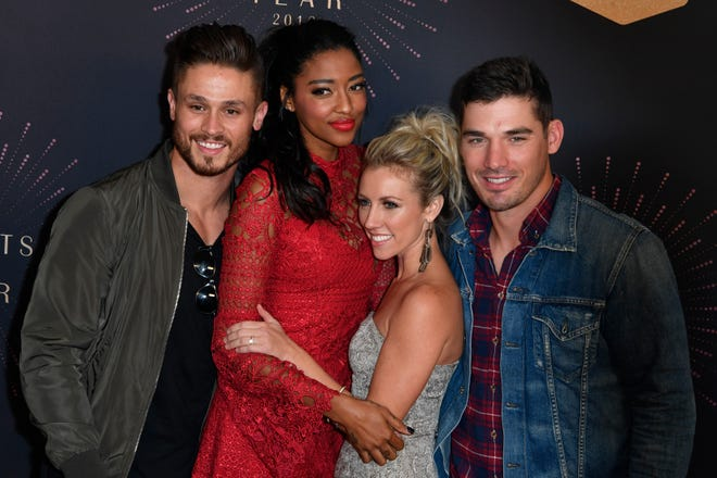 The cast of Music City on the red carpet before the CMT Artists of the Year ceremony at the Schermerhorn Symphony Center in Nashville, Tenn., Wednesday, Oct. 17, 2018.