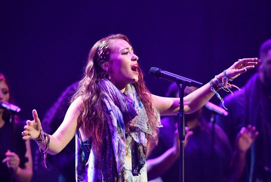 Lauren Daigle performs at the 49th annual GMA Dove Awards on Oct. 16, 2018, at Lipscomb University's Allen Arena in Nashville.