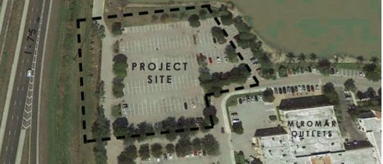 An aerial of the property where a hotel is proposed within Miromar Outlets.