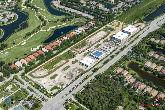 Aerial view of Naples Motor Condos site.