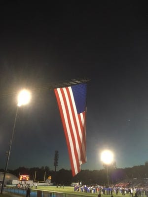 Wayne Valley honored U.S. Armed Forces and first responders before its game Oct. 12.