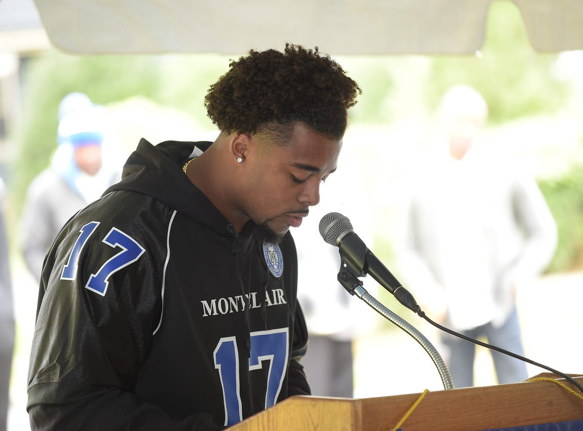John Lewis Jr. speaks at the dedication of the Montclair High School Sports complex to his grandfather. October 13, 2018.