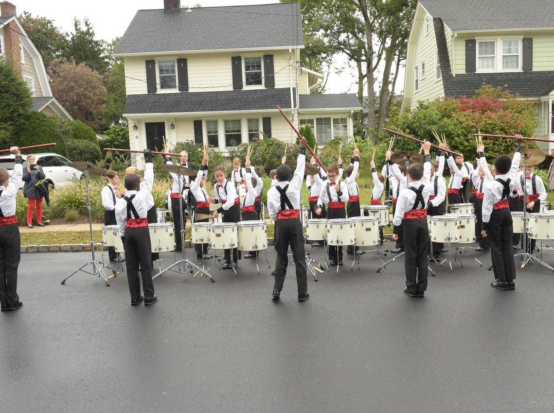 "Members of Hillside School's ""Drums of Thunder"" perform at the dedication of the Aubrey Lewis Sports Complex in Montclair, NJ. October 18, 2018."