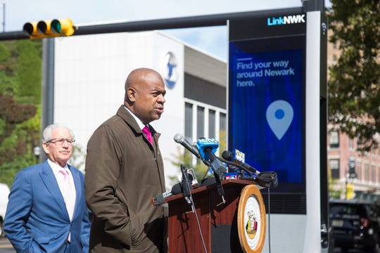 Newark Mayor Ras Barak speaks at the launch of LinkNWK's new wireless internet kiosks. Newark is now the second city in the country to have free wifi