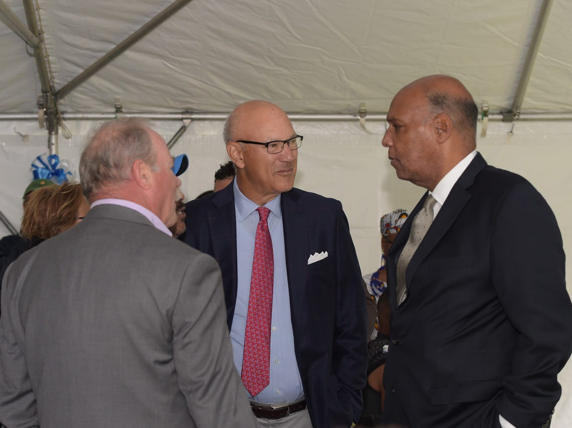 Council member Rich McMahon, Len Coleman and Mayor Robert Jackson at the dedication of the Aubrey Lewis Sports Complex in Montclair. October 13, 2018.