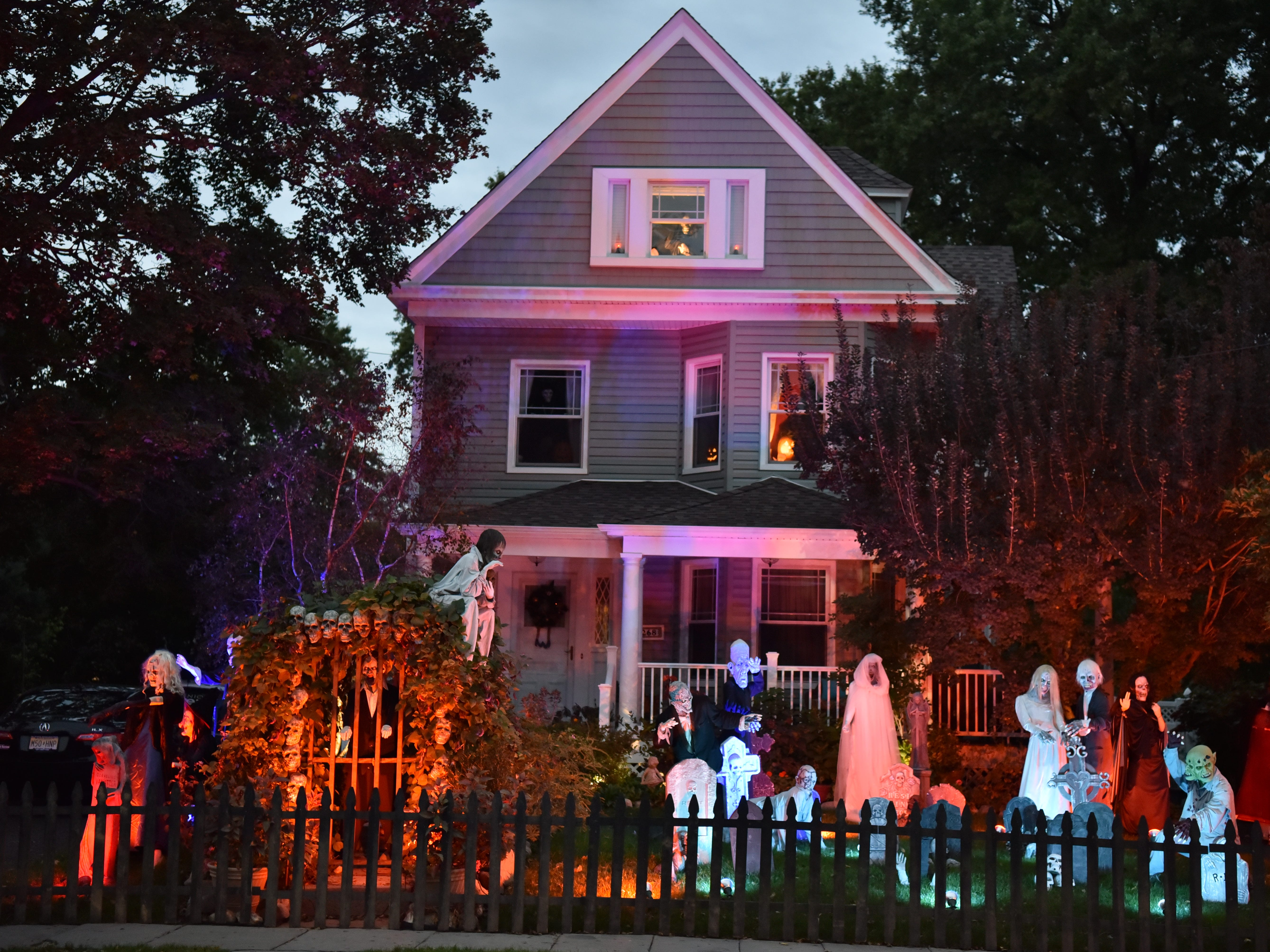 Halloween decorations on Clinton Place in Hackensack, on Tuesday, October 16, 2018.