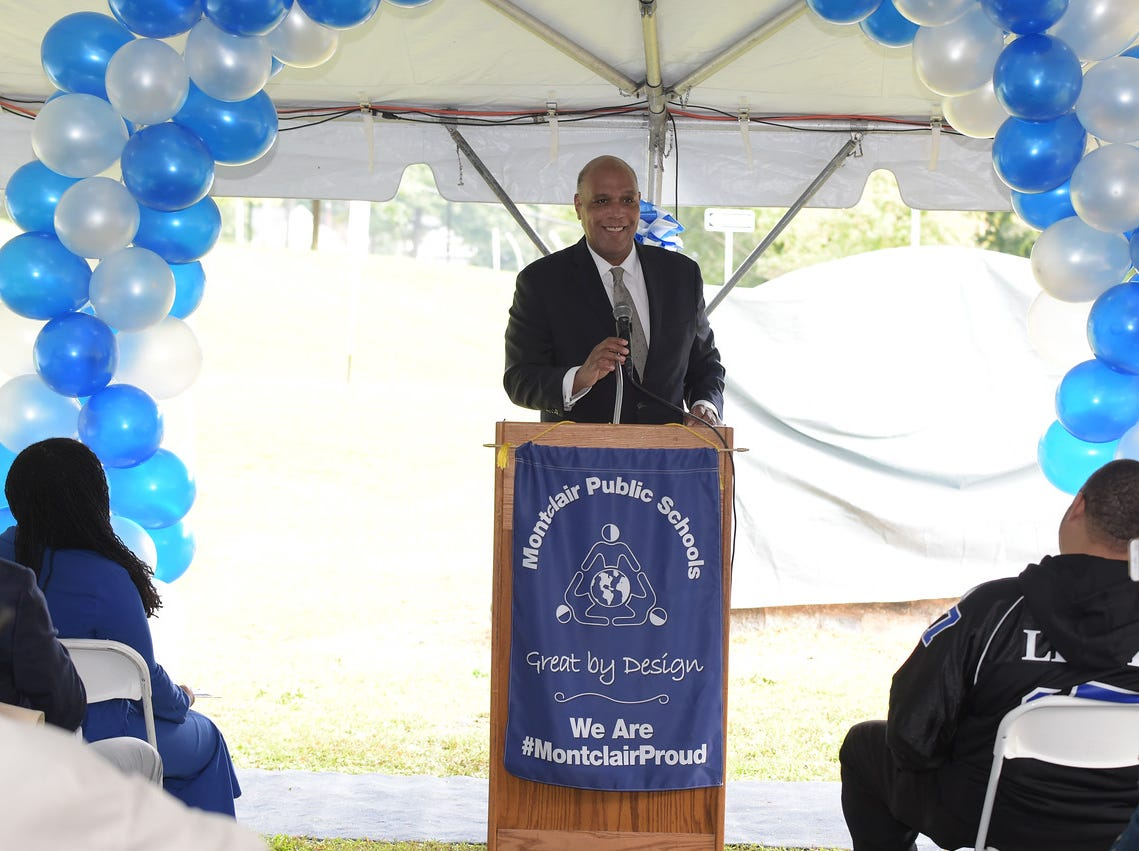 Mayor Robert Jackson speaks at the dedication of  the Montclair High School Sports complex to Aubrey Lewis. October 13, 2018.