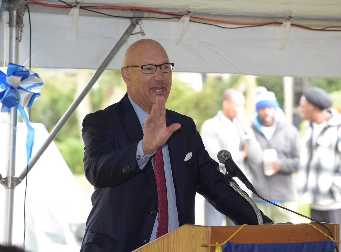 Len Coleman, Montclair High School graduate and former commissioner of National League baseball, speaks at the dedication of the Aubrey Lewis Sports Complex. October 13, 2018.