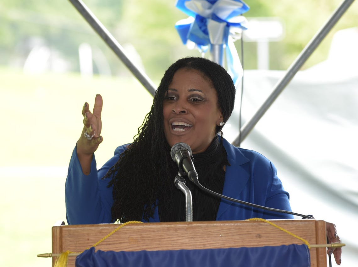 Dr. Kendra Johnson, superintendent of schools, speaks at the dedication of  the Montclair High School Sports complex to Aubrey Lewis. October 13, 2018.