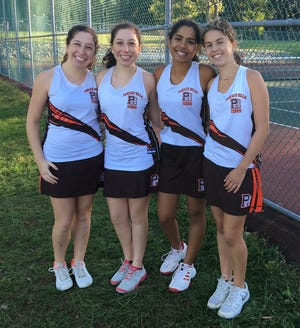 From Pascack Hills, from left to right: Carly Haberfield, Samantha Haberfield, Ria Sah and Lindsay Fleishman.