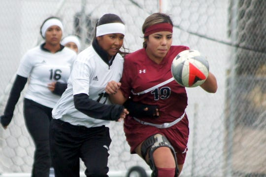 Senior Lady 'Cat captain Mireya Trujillo (19) beat the Gadsden defense to the ball at midfield and outraced her defenders to score the game's lone goal in a 1-0 Deming High victory.