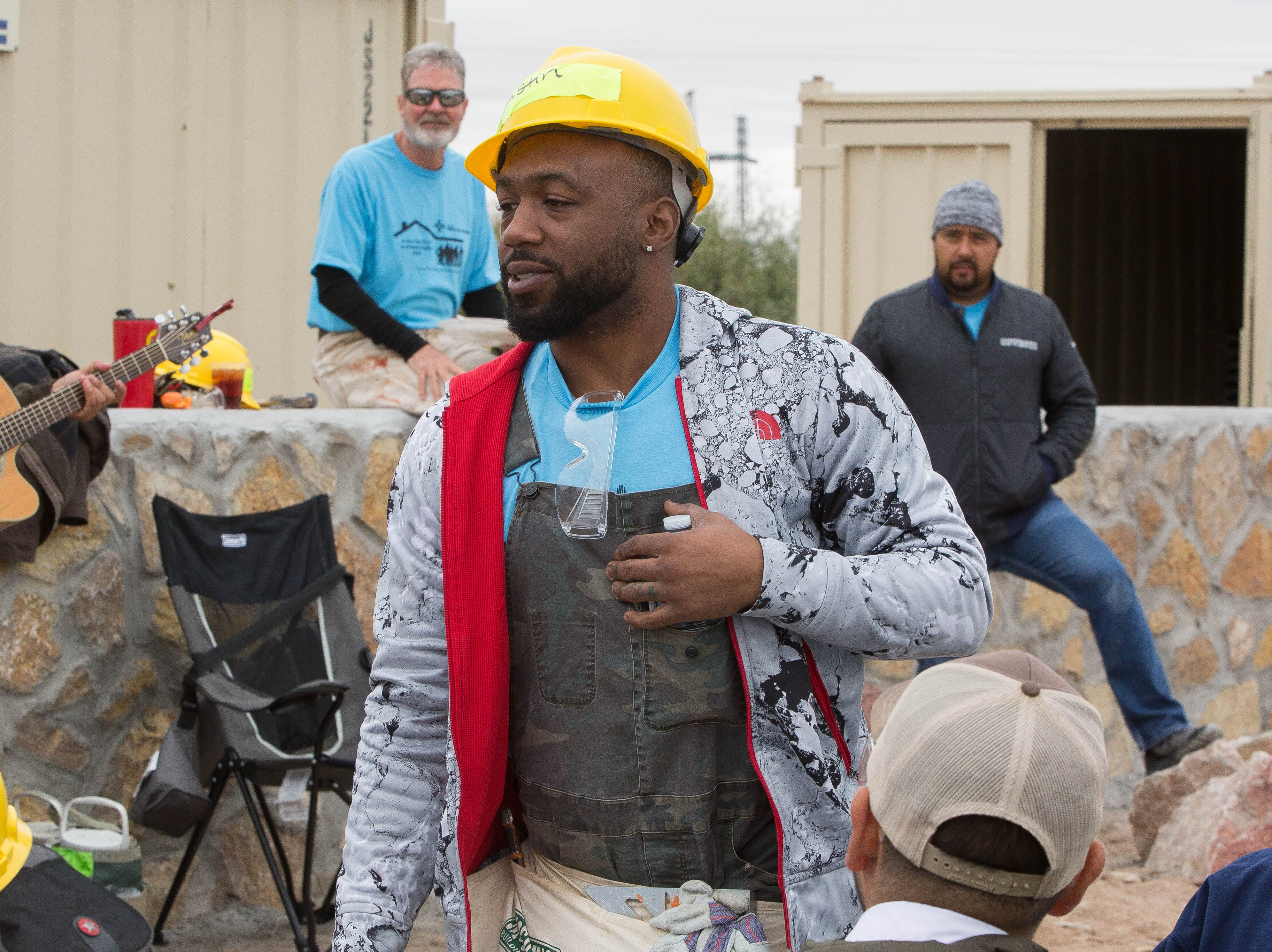 During the lunch break at the Habitat for Humanity build site at Aurora Star Court, Austin Trout, was introduced along with a few other local celebrities that Tok the time to volunteer and help build homes, Wednesday October 17, 2018.