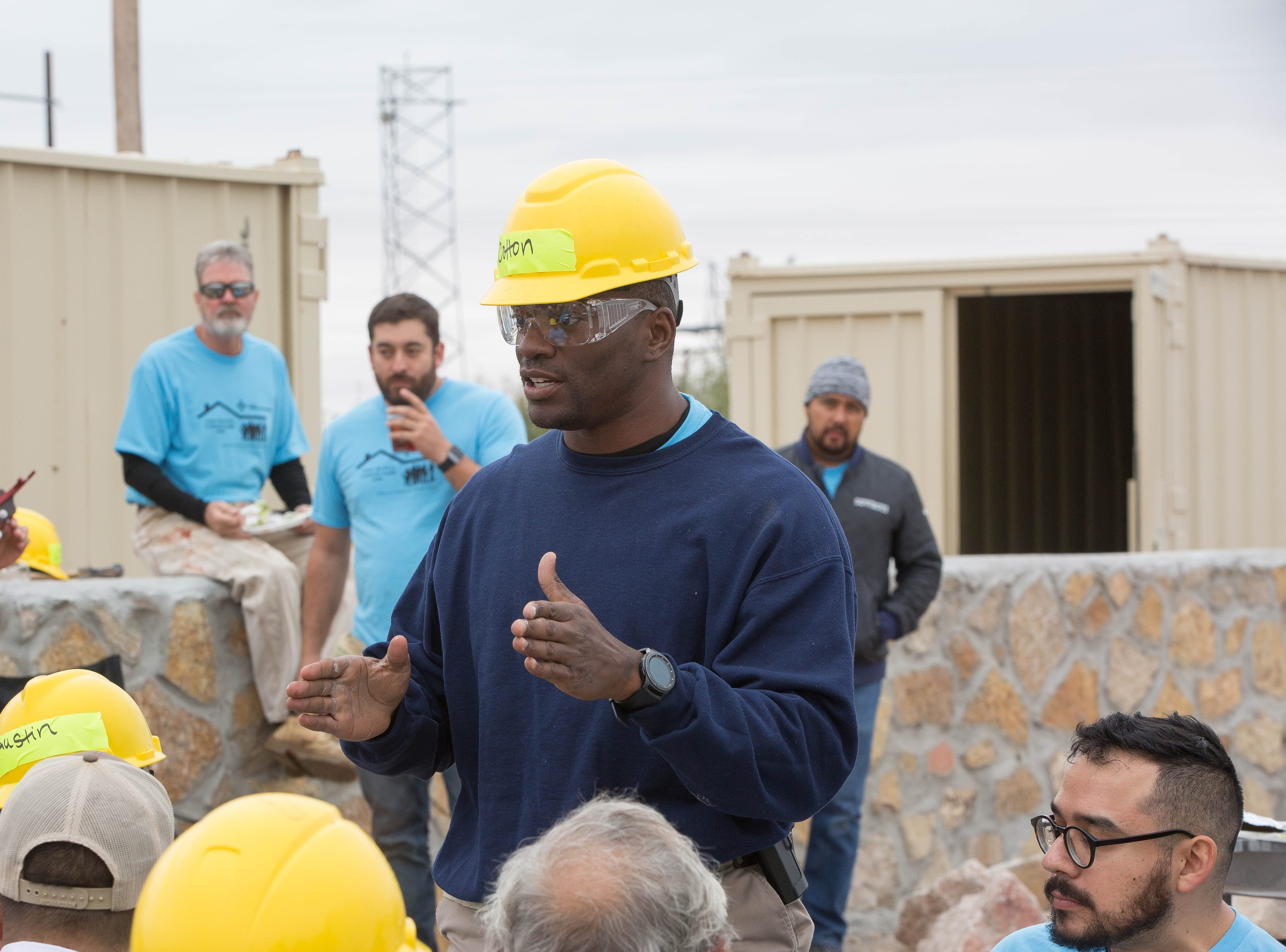 Jamar Cotton, a Doña Ana County Sheriffs deputy, one of the celebrity volunteers that worked along side other volunteers to build homes on the Habitat for Humanity, Wednesday October 17, 2018.