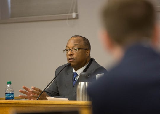 Gerald Byers, Chief Deputy District Attorney at the Doña Ana County District Attorney's office, testifies during a prohibited practices hearing, Wednesday October 17, 2018.