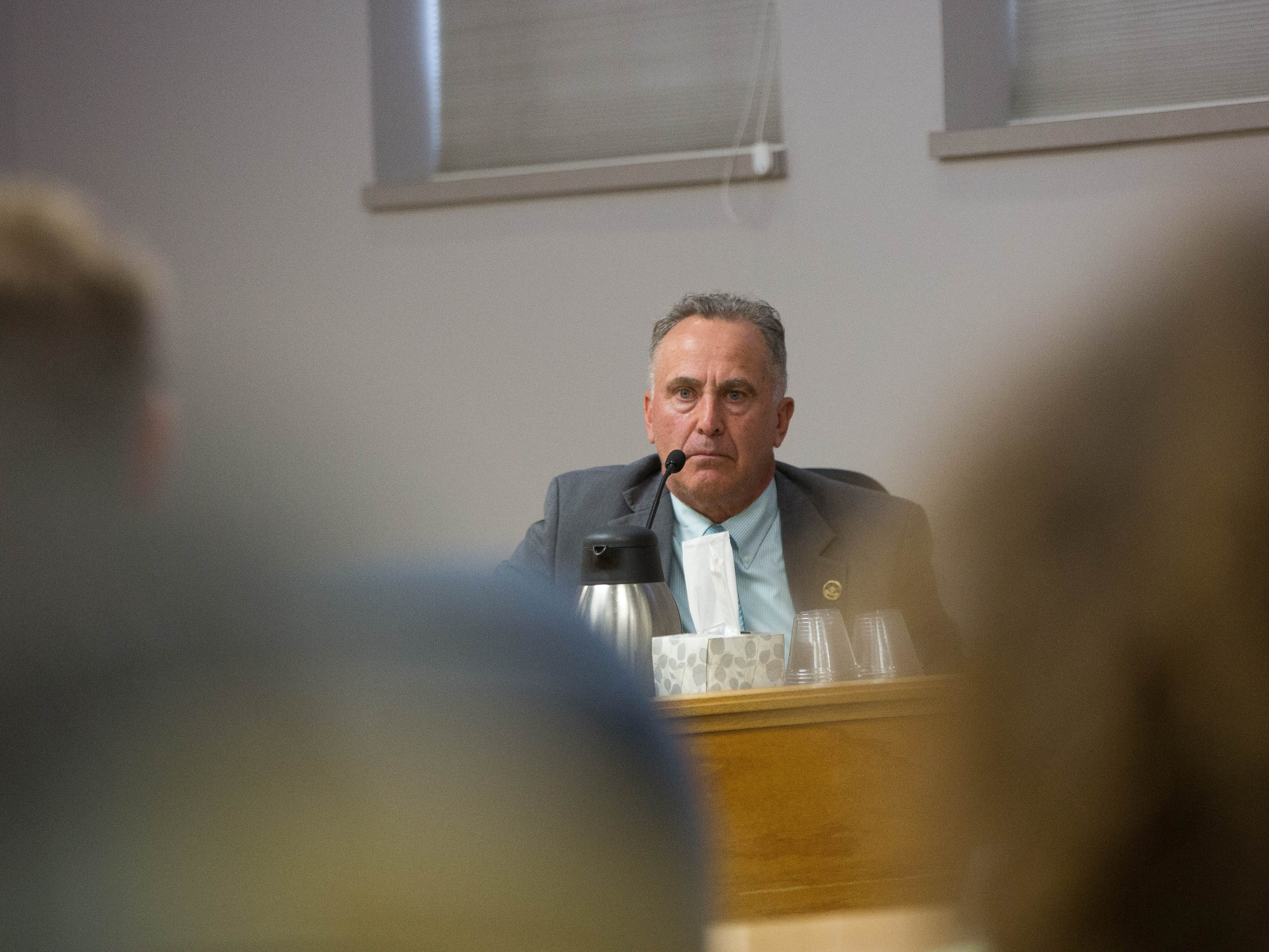 Mark D'Antonio testifies at a Public Employee Labor Relations Board hearing Wednesday October 17, 2018.