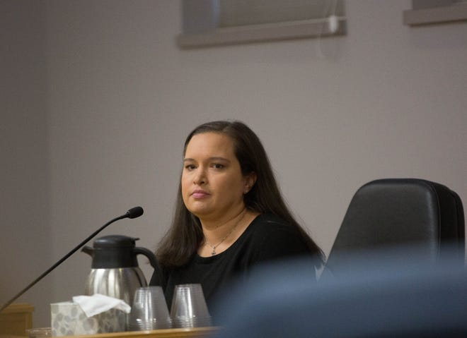 Rebecca Duffin, a former prosecutor in the Doña Ana County District Attorneys office, testifies during a Public Employee Labor Relations Board hearing, Tuesday October 16, 2018.